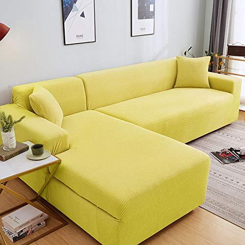 Fsogasilttlv Sofá y Protector para 2 plazas y 4 plazas, Juego de Fundas de sofá de Esquina de Color sólido para Sala de Estar, Fundas de sofá elásticas, Toalla de sofá elástica, sofá en Forma de L