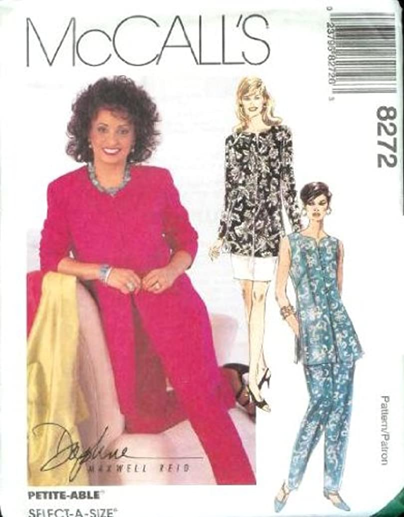 McCall's Sewing Pattern 8272 Misses' Unlined Jacket or Vest, Pull-on Pants & Skirt, C (Size 10 12 14)