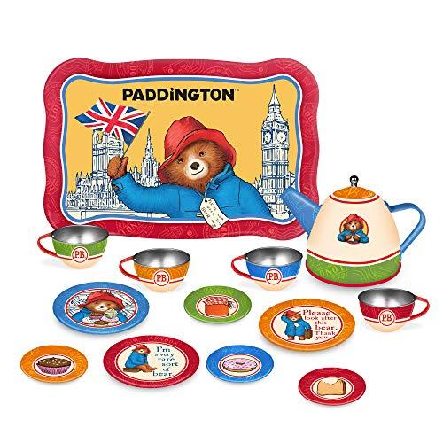 YOTTOY Paddington Bear Collection | 14-Piece Kid's Tin Tea Set Toy w/ Illustrations for Boys & Girls