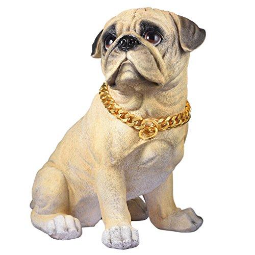PROSTEEL Collar Resistente de Perro Cadena de Acero Inoxidable 15mm de Ancho Cadena de Seguridad, Dorado 55cm