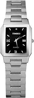 TIME100 Mens Wristwatches Fashion Simple Stainless Steel Black Square Dial Couple Watch for Men