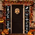 Dazonge Halloween Decorations Outdoor | Trick or Treat & It's October Witches Halloween Signs for Front Door or Indoor Home Decor | Porch Decorations | Halloween Welcome Signs