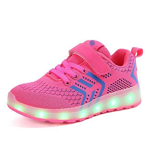 Luckly Cloud-UK LED Kinderschuhe Jungen Mädchen Schuhe Antirutsch Antibakteriell Luftdurchlässig Verstellbar 7 Farben USB Aufladbare Leuchtschuhe Turnschuhe (30 EU, Pink)