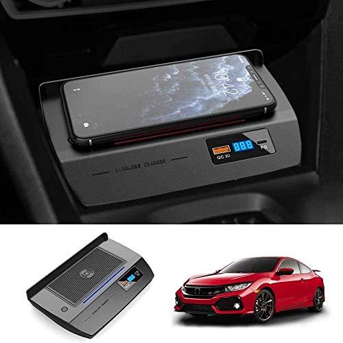 WY-CAR Cargador Inalámbrico Automóvil para 10th Gen Honda Civic 2020 2019 2018 2017 2016, 15W Cargador Inalámbrico Rápido para iPhone 12/11/XS/X Samsung S20/S10/S9