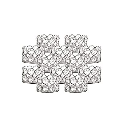 VINCIGANT Silver Crystal Tea Light Candle Holders Set of 12 for Christmas Wedding Home Table Centerpiece Decoration (Candle Excluded) by Identical International Co.,Ltd