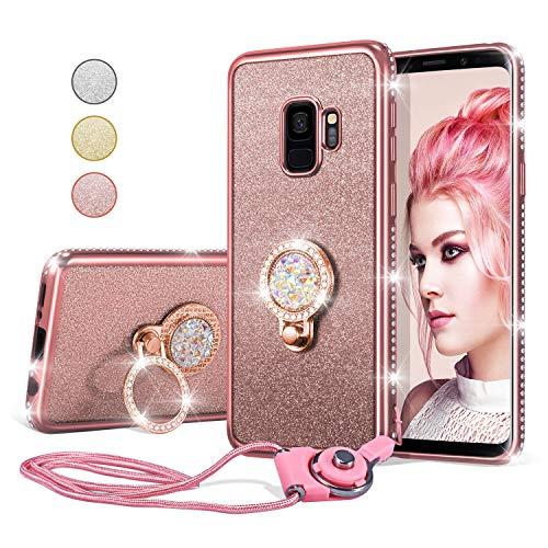 UEEBAI Hülle für Samsung Galaxy S9 Plus,Glitter Etui Eingelegten Diamond Soft TPU Handyhülle Drehbare Strass Ring 360 Grad Ständer Ultra Dünn Schutzhülle Mädchen Frauen Umhängeband -Roségold
