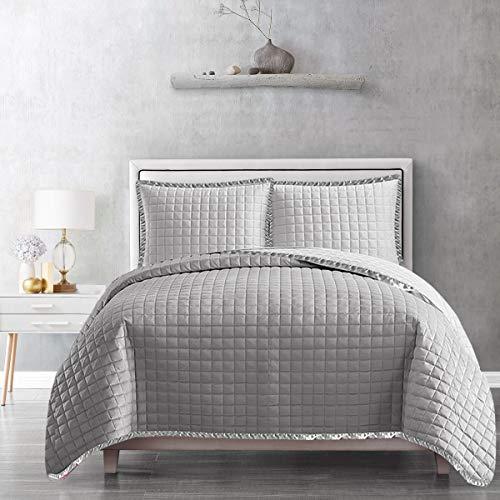 Hafaa - Copriletto trapuntato con motivo a rilievo, 3 pezzi, colore grigio, per letto matrimoniale, 240 x 240 cm, colore: grigio