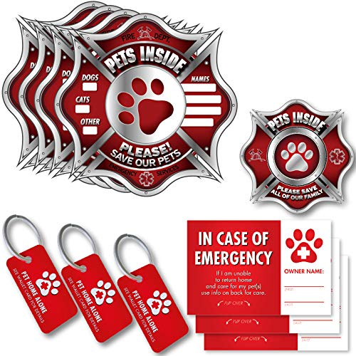 Pet Alert Stickers, key tags, wallet wards - FIRE SAFETY ALERT and RESCUE (11 PACK) - Save your pets encase of emergency or danger pets in home for windows, doors sign (11 Pack, SILVER - Fireman)