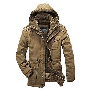 Winter Men Parkas Warm Waterproof Thicken Male Heavy Wool 2 in 1 Coat Fleece Cotton-Padded Khaki XL