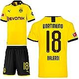 PUMA Borussia Dortmund BVB Heimset 2019 2020 Home Kit Trikot Shorts Kinder Leonardo Balerdi 18 Gr 176