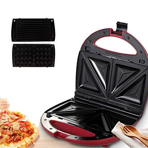 CCJW El Fabricante de sándwich eléctrico Compacto Hace Tortillas y Tortillas de gofres a la Parrilla con Placas recubiertas antiadherentes para el Desayuno, el Almuerzo o los bocadillos kshu