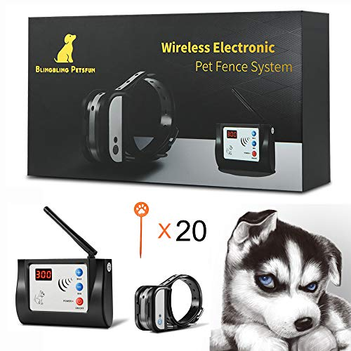 Blingbling Petsfun Electric Wireless Dog Fence System, Pet Containment System...