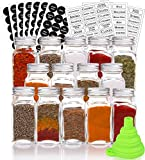 Estilo EST2880 Complete Includes Clear Ti Spice Set 14 Glass Jars with Airtight Screw on Covers, Shaker Lids, 240 White and Black Labels, Collapsible Silicone Funnel-(4 oz