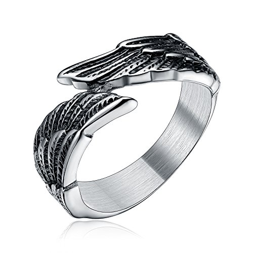 TIGRADE Antique Stainless Steel Ring Feather Angel Wing Cast Black Silver Band Size 5-14.5 (Black,9)