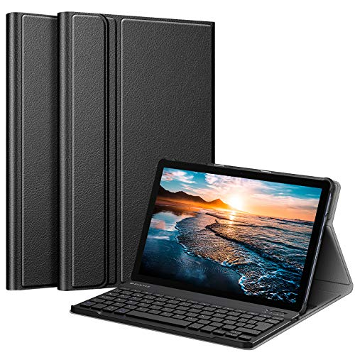 FINTIE Funda con Teclado Español Ñ para Huawei MatePad T10s - Carcasa SlimShell con Soporte y Teclado Bluetooth Inalámbrico Magnético Desmontable, Negro