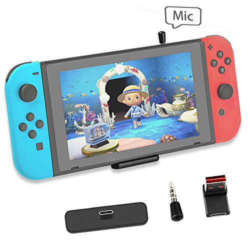 Bluetooth Adapter for Nintendo Switch Accessories USB-C Connector Wireless Audio Transmitter with aptX LL, Support in-Game Voice Chat,Connect AirPods Headphones - Black