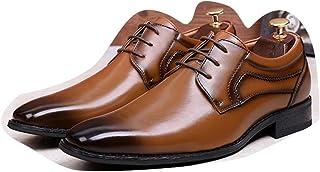 Kirabon Calzado de Hombre Calzado de Hombre Cosido a Mano Calzado de Negocios Calzado de Cuero Casual para Hombre con Zapatos de Vestir de Cabeza Cuadrada (Color : Marrón, Size : 41)