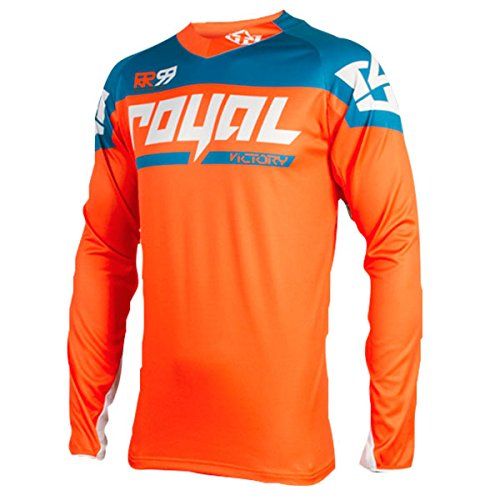 Royal Racing Maillot Victory Race Manches Longues-Orange/Bleu Homme, FR : S (Taille Fabricant : S)