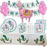 Vajilla Cumpleaños niña de llama, Decoraciones Fiesta Cumpleaños Infantil de Alpaca Cactus y Cubiertos Desechable de Plásticos - Kit Cumpleaños Infantil para 18 Invitados