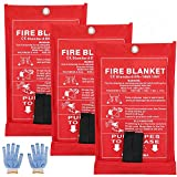 SAINUOD Fire Blanket Emergency for Kitchen, Suppression Flame Retardant Safety Blanket for Home, School, Fireplace, Grill, Car, Office, Warehouse (3 Pack)