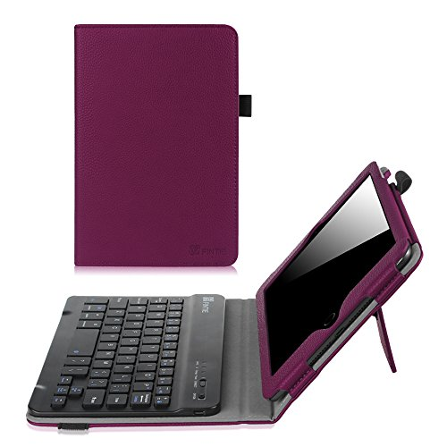 Fintie Keyboard Case for iPad Mini 1/2/3 - Premium PU Leather Folio Stand Cover with Removable Wireless Bluetooth Keyboard for iPad Mini 1 / iPad Mini 2 / iPad Mini 3, Purple