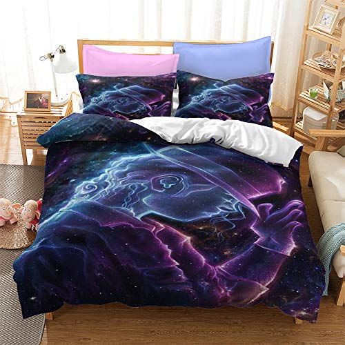 LWtiao-x Set di biancheria da letto per ragazzi 3D, Michael Jackson, motivo foglie musicali, federa per cuscino da danza con cerniera (8,155 x 220 cm + 80 x 80 cm x 2)