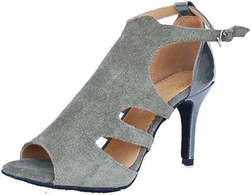 Fuxitoggo schuhe de Baile Latino para damen, schuhe de Baile Social con Peep-Toe de Fondo Suave y Sandalias (Farbe   grau, tamaño   Foot Length=23.8CM9.4Inch)
