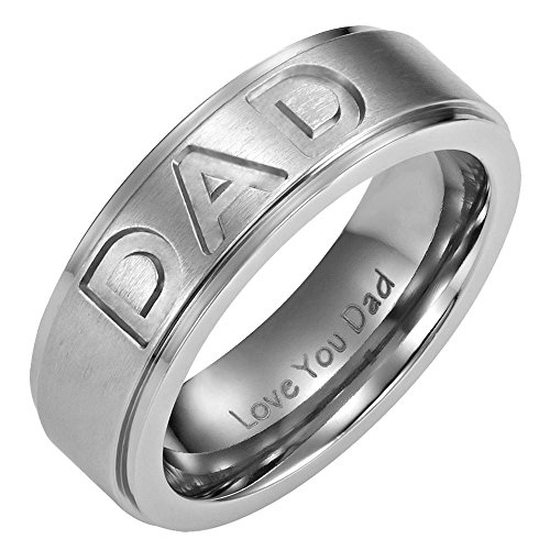 Men's DAD Titanium 7mm Ring Engraved Love You Dad with Gift Pouch by Willis Judd, Size Z+3