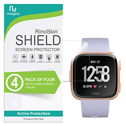 (4-Pack) RinoGear Screen Protector for Fitbit Versa (Also Versa Lite Compatible) Case Friendly Fitbit Versa Screen Protector Accessory Full Coverage Clear Film