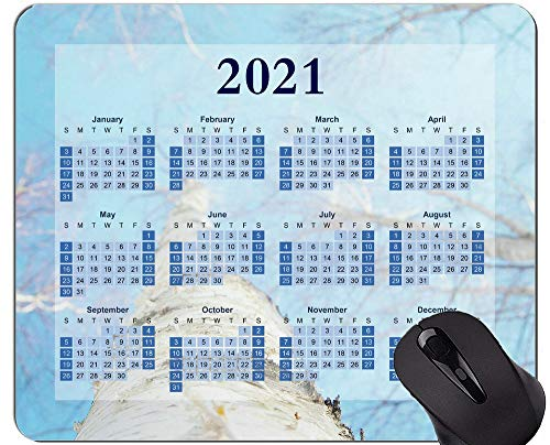 Yanteng 2021 Calendar Mouse Pad, Winter White Sky Mouse Pad