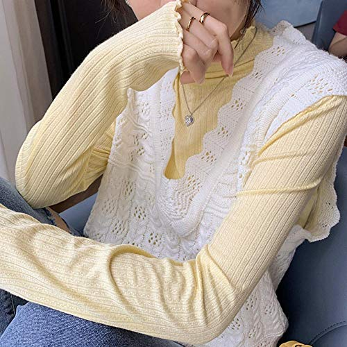 Camisa De Mujer Algodón Cuello Alto Manga Larga Mujeres Flacas Elástico Suave Casual Gentle Lady Adecuado para Varias Escenas-Amarillo