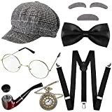 8 Pieces 1920s Old Man Costume Grandpa Costume Accessories Set, Beret Hat, Golden Glasses, False Eyebrow Beard, Y-Shaped Suspender, Bow Tie, Pocket Watch, Costume Pipe
