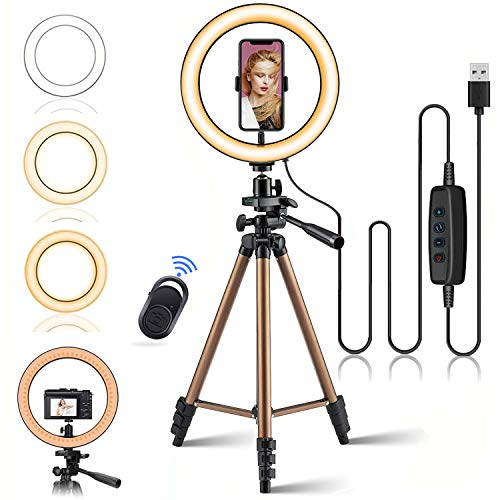 """10.2"""" Selfie LED Ring Light with Adjustable Tripod Stand & Phone Holder for iPhone Samsung Android,Remote Control Ringlight Beauty Lamp for Makeup/Live Stream/Photography/YouTube/TikTok/Shoot Vedio"""