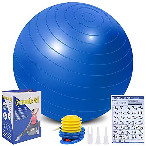 Flintronic Fitness Pelota de Ejercicio, 55cm Fitball, Pilates, Embarazo y Sentarse,Equilibrio, Entrenamiento ( Incluye Caja de Color,Manual de Instrucciones,Bomba de Aire ,Azul 55cm