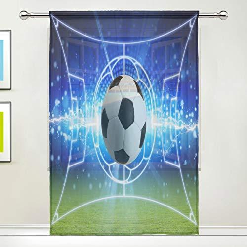 BIGJOKE Cortina Transparente para Ventana, Paneles de balón de fútbol para Cocina, Sala de Estar, Dormitorio, Oficina, Cortina de Gasa, 1 Pieza, 55x78 Inches