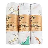 LinStyle Muselina Manta Bebé, 3 Piezas Reutilizable Bambú Algodón Manta para Bebé Recién Nacido, 120 x 120 cm