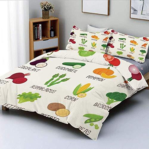 Juego de funda nórdica, diseño de verduras, café retro, diseño para el hogar, calabaza, tomate, repollo, pimiento, patato, juego de cama decorativo de 3 piezas con 2 fundas de almohada, blanco, verde,