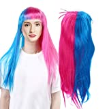 Peluca larga, peluca sintética sintética de fibra resistente al calor encantadora para mujeres Peluc...