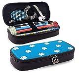 XCNGG Terrier Dog Blue PU Leather Pencil Pen Astuccio Borsa con cerniera Materiale scolastico per studente Portamonete Borsa per trucco cosmetica