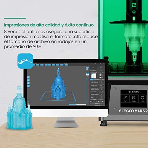 ELEGOO Mars 2 Impresora 3D Mono MSLA Impresora 3D de Resina LCD de Fotopolimerización UV con LCD Monocromático 2K de 6.08 Pulgadas, Tamaño de Impresión 129mm(L)*80mm(W)*150mm(H)