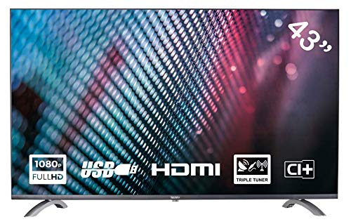 Yasin YT43FTB1 Televisore 43 pollici (108 cm) LED TV (Full HD, Triple Tuner, CI+, HDMI, lettore multimediale via USB 2.0)
