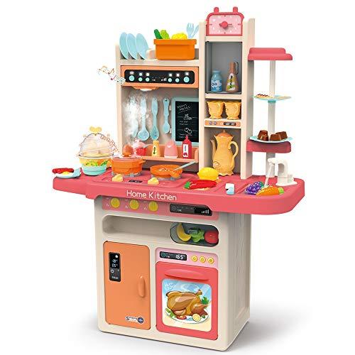 InChengGouFouX Frühkindliche Küche Spielzeug Kinder Küche Essen Kochen Little Chef Pretend Set Moderne Chef-Kind-Kind-Spielzeug-Küche Spielen Pretend to (Color : Red, Size : 71x28.5x93.5cm)