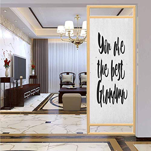 "W 17.7"" x L 78.7"" UV Glass Film Window Home Office Living Room,Monochrome Quote About Best Grandmother on a Grunge Inspired Dotted Background Black White"