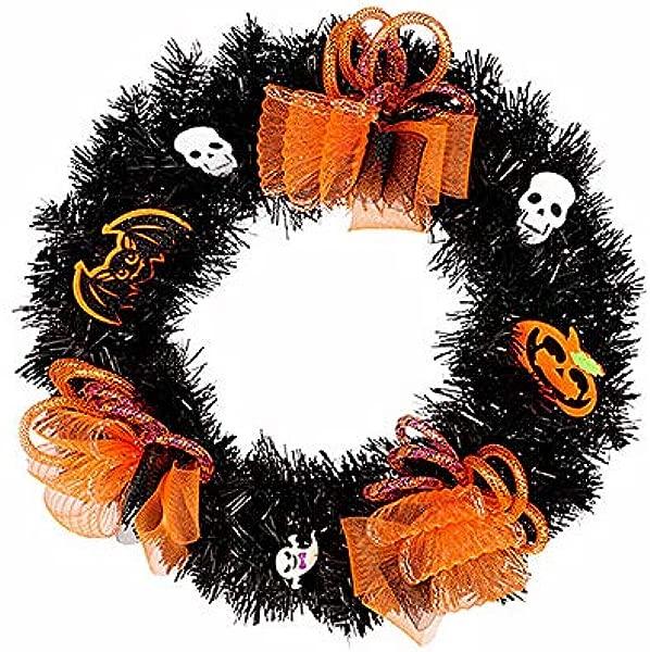 Takefuns Halloween Black Tinsel Wreath With Skulls Purple Ornaments 30cm Diameter Halloween Wreath Pumpkin Mesh Outdoor Front Door Wreath Orange Black