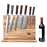 Resafy Magnetic Chef Knife Acacia Wooden Block Holder 17 X 13 Inches Rack Magnetic Universal Stands with Strong Enhanced Magnets Strip Kitchen Storage Cutlery Large Organizer
