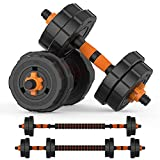 BOSWELL Adjustable Weights Dumbbells Set, 22lbs 2 in 1 Weights Barbell Dumbbells Pair Non-Slip...