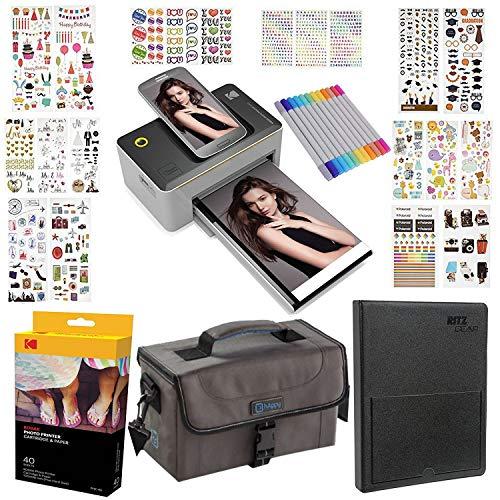 KODAK Dock 4x6 Printer Gift Bundle + 40 Paper + 9 Unique Colorful Sticker Sets + Case + Markers + Photo Album + Sticker Frames