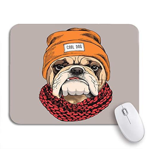 Gaming Mouse Pad Tier Bulldogge Porträt in Hipster Hut Strickschal Hund rutschfeste Gummi Backing Computer Mousepad für Notebooks Maus Matten