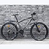 Bicicleta de montaña de 26 pulgadas Bicicleta de montaña masculina Bicicleta de montaña de velocidad variable Doble amortiguador Luz de carrera Adecuado para adultos Jóvenes estudiantes Mujeres adul