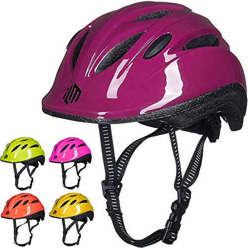 ILM Kids Youth Bike Helmet Toddler Bicycle Cycling Helmet with Adjustable Dial for Boys and Girls (Purple, Small/Medium)
